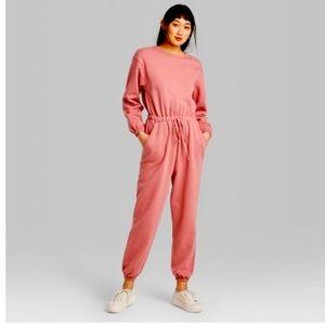 Long Sleeve Crewneck Fleece Jumpsuit - Color Rose